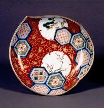 雪輪亀甲文 桃形皿